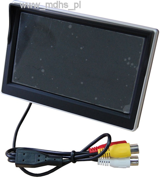 "MONITOR LCD 5"" DO KAMER COFANIA, 2 wejścia VIDEO, TFT-5.0/CAR"