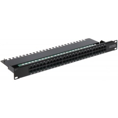 "Patch panel do szafy RACK 19"", 1U, 50 portów, PP-50/RJ"